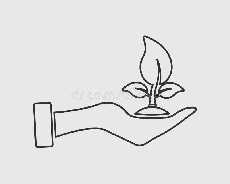 Línea de ahorro icono de la planta libre illustration
