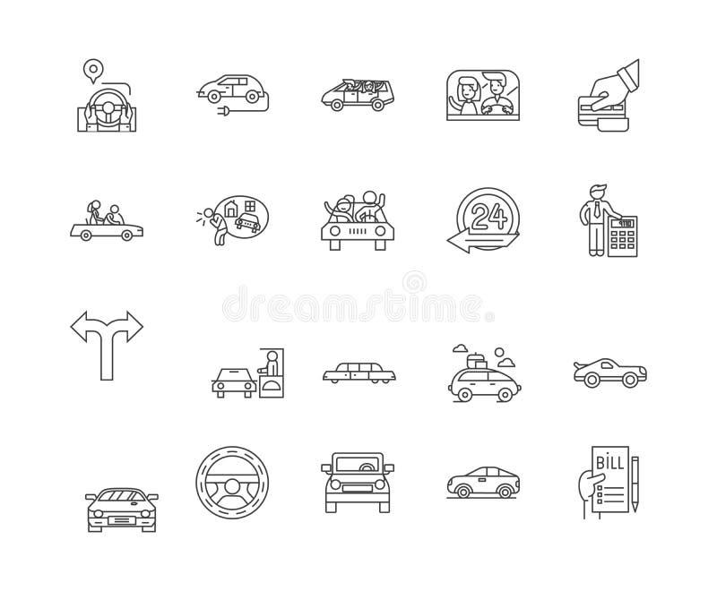 Línea de alquiler auto iconos, muestras, sistema del vector, concepto del ejemplo del esquema libre illustration