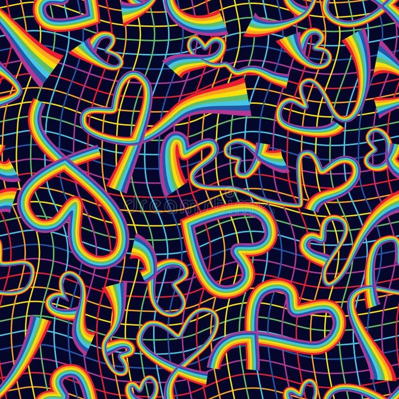 Línea de amor del arco iris modelo inconsútil de la red del arco iris ilustración del vector
