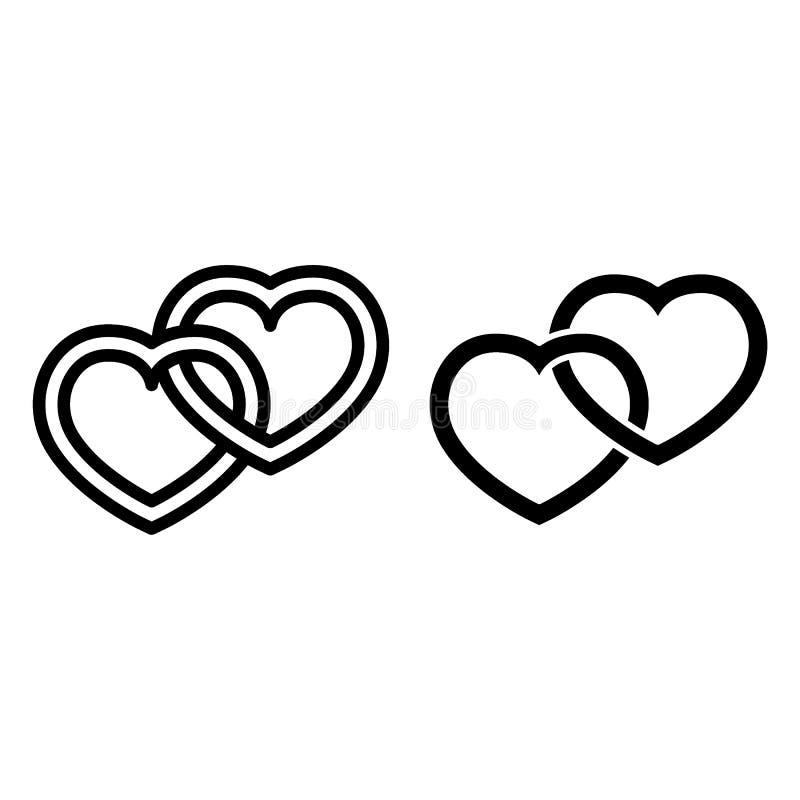 Línea de amor e icono del glyph Ejemplo conectado del vector de los corazones aislado en blanco Diseño del estilo del esquema de  stock de ilustración
