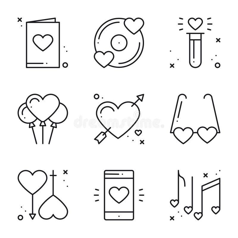 Línea de amor iconos fijados Muestras y símbolos felices del día de San Valentín Amor, par, relación, datación, boda, día de fies stock de ilustración