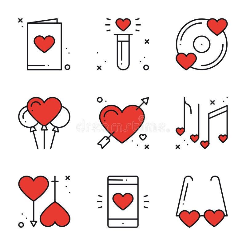 Línea de amor iconos fijados Muestras y símbolos felices del día de San Valentín Amor, par, relación, datación, boda, día de fies libre illustration