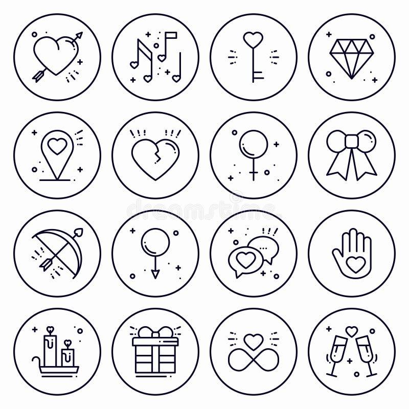 Línea de amor sistema del concepto de los iconos Muestras y símbolos felices del día de San Valentín Amor, par, relación, datació ilustración del vector