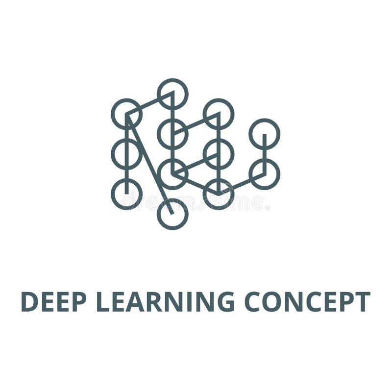 Línea de aprendizaje profunda icono, vector del concepto Muestra de aprendizaje profunda del esquema del concepto, símbolo del  libre illustration