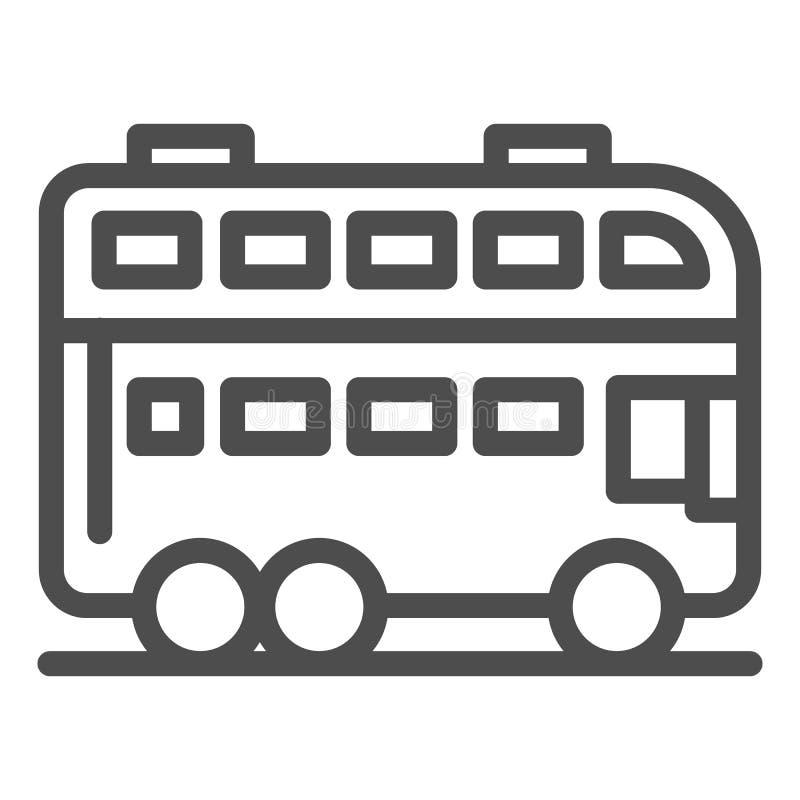 L?nea de autob?s de Londres icono Ejemplo del vector del autob?s del autob?s de dos pisos aislado en blanco Dise?o del estilo del libre illustration