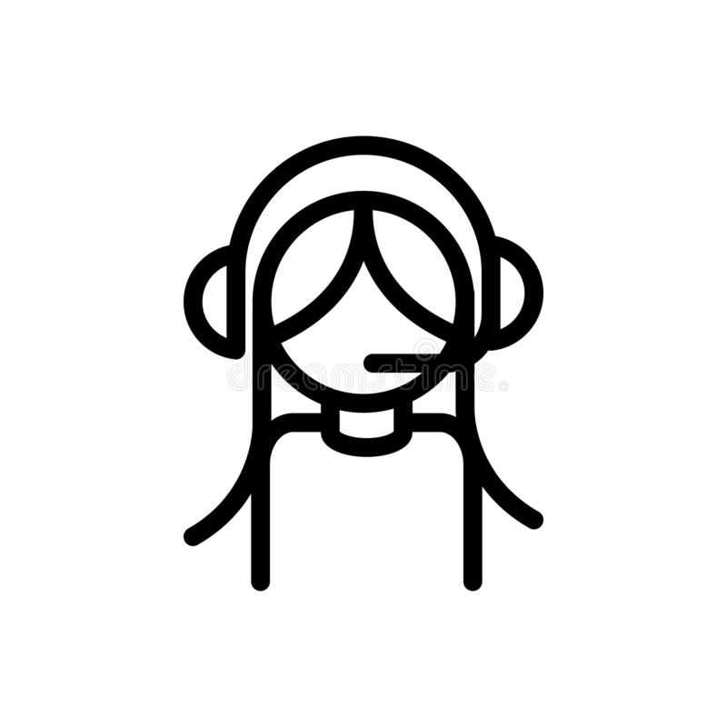 Línea de ayuda de agente femenino del servicio del centro de llamadas stock de ilustración