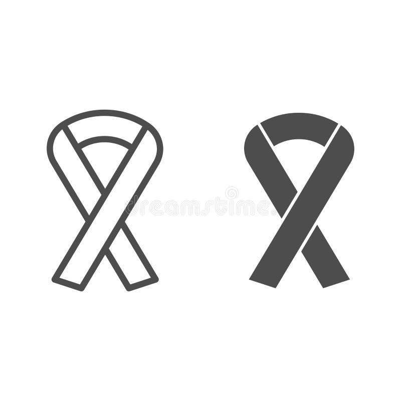 Línea de ayuda de la cinta e icono del glyph Ejemplo del vector de la caridad aislado en blanco Diseño del estilo del esquema de  libre illustration