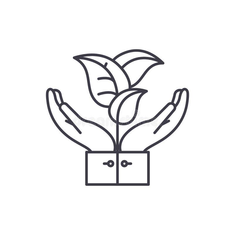 Línea de ayuda de la flora concepto del icono Ejemplo linear del vector de la ayuda de la flora, símbolo, muestra libre illustration