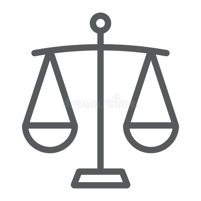 Línea de balanza icono, finanzas y actividades bancarias, muestra de la escala ilustración del vector