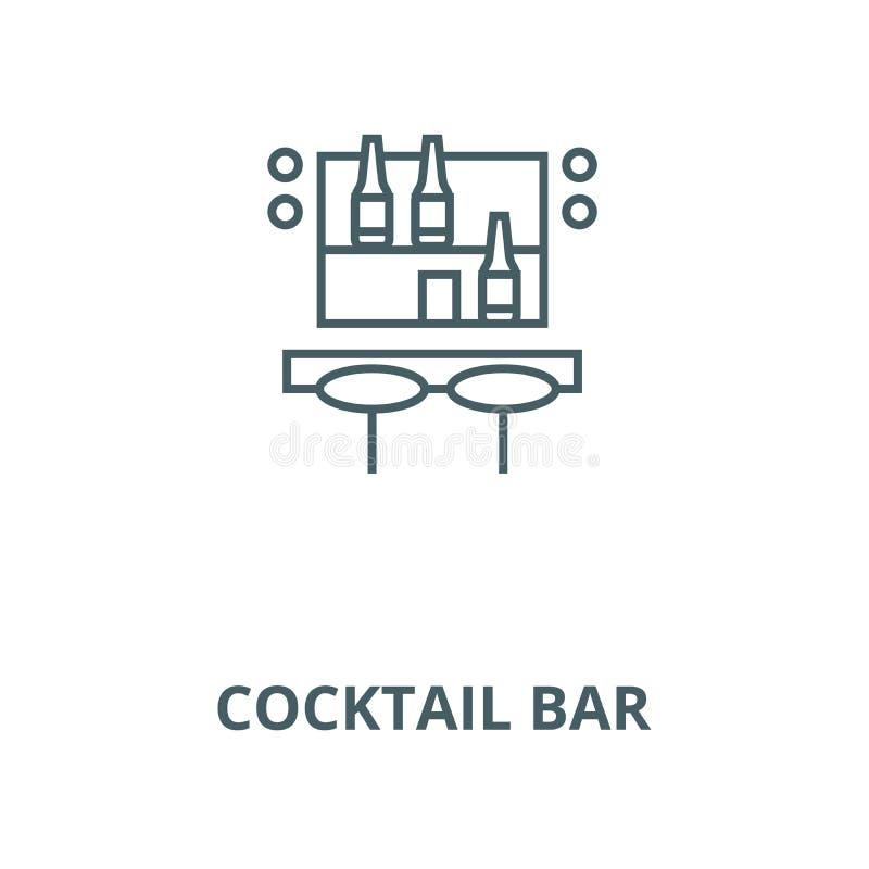 Línea de barra del cóctel icono, vector Muestra del esquema de la barra del cóctel, símbolo del concepto, ejemplo plano libre illustration