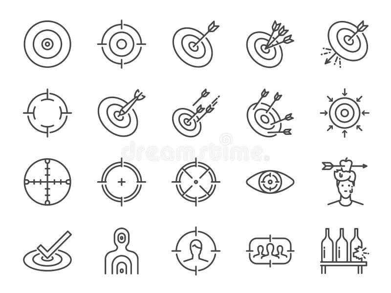 Línea de blanco sistema del icono Iconos incluidos como objetivo, meta, retículo, lanzamiento, tiroteo y más ilustración del vector