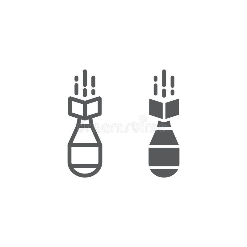 Línea de bomba nuclear e icono del glyph, arma y militares, muestra de la bomba del aire, gráficos de vector, un modelo linear en stock de ilustración