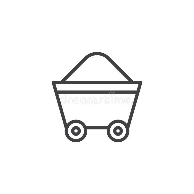 Línea de carretilla de la mina icono ilustración del vector