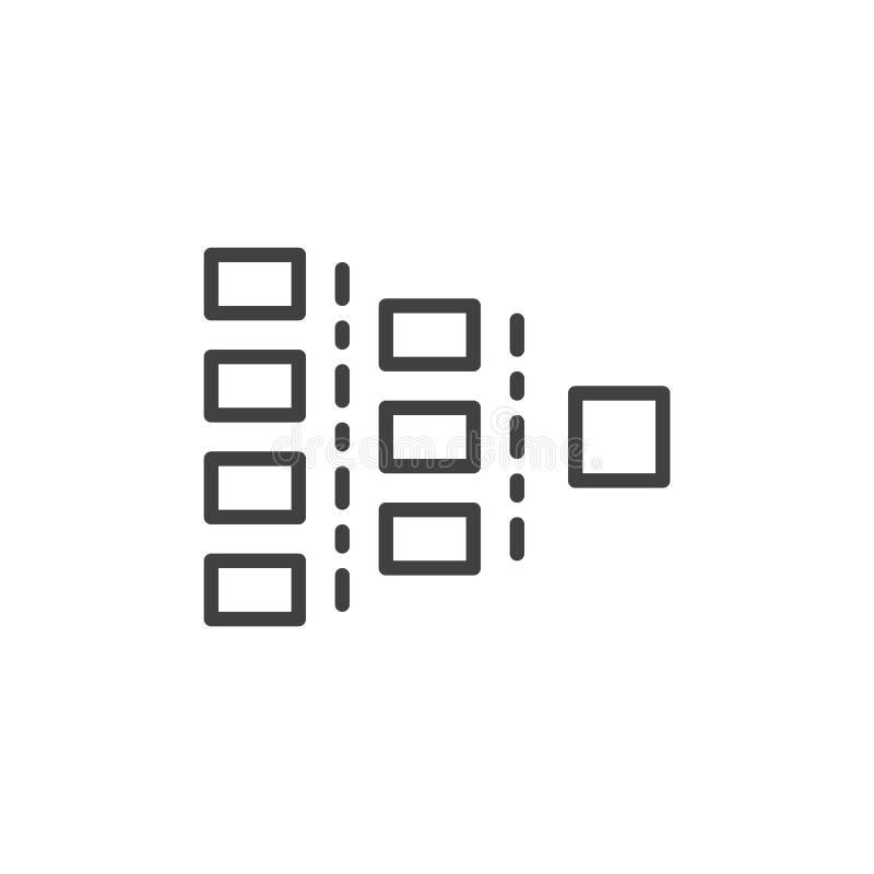Línea de carta de Org icono, muestra del vector del esquema, pictograma linear del estilo aislado en blanco stock de ilustración