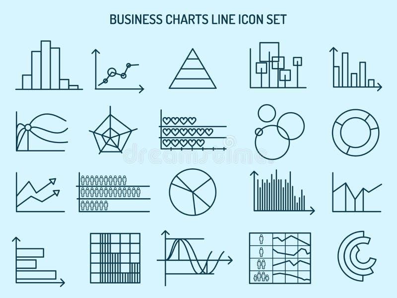 Línea de cartas de negocio iconos stock de ilustración