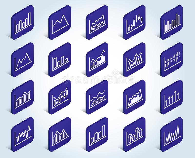 Línea de cartas financiera iconos Gráfico del palillo de la vela stock de ilustración