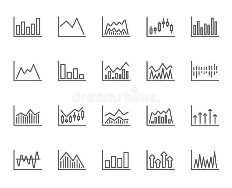 Línea de cartas financiera iconos Gráfico del palillo de la vela Vector stock de ilustración
