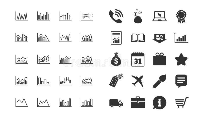 Línea de cartas financiera iconos Gráfico del palillo de la vela Vector ilustración del vector