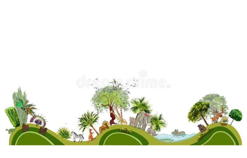 Línea de ciudad ejemplo del parque zoológico de la colección libre illustration