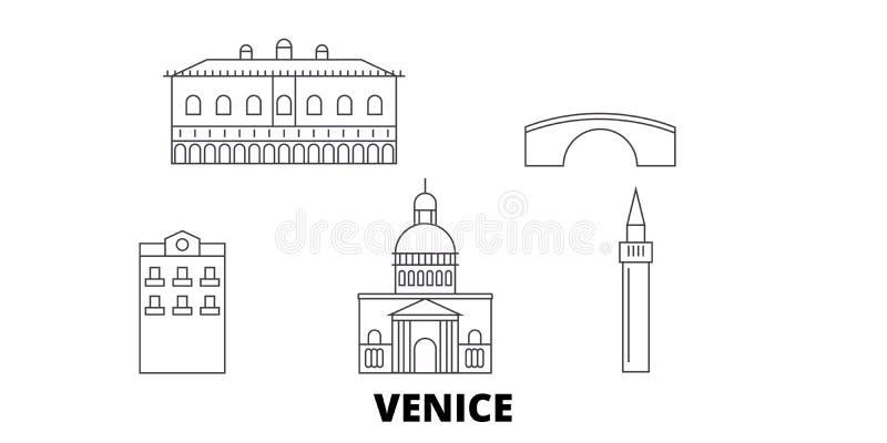 Línea de ciudad de Italia, Venecia sistema del horizonte del viaje Ejemplo del vector de la ciudad del esquema de la ciudad de It libre illustration