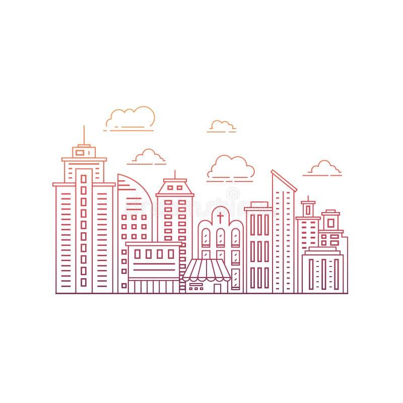 Línea de ciudad moderna stock de ilustración