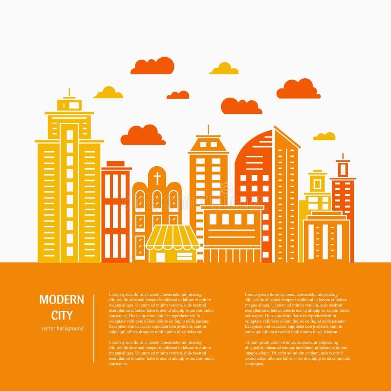 Línea de ciudad moderna ilustración del vector