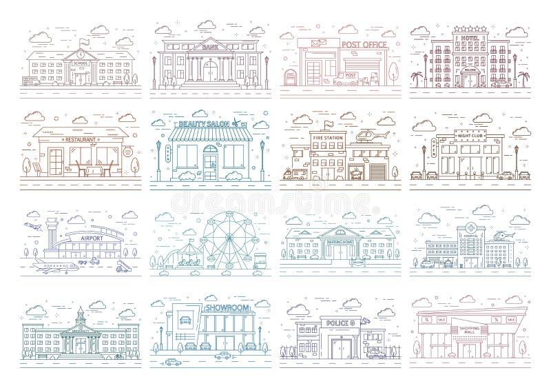 Línea de ciudad que construye el sistema de la opinión de parte delantera libre illustration