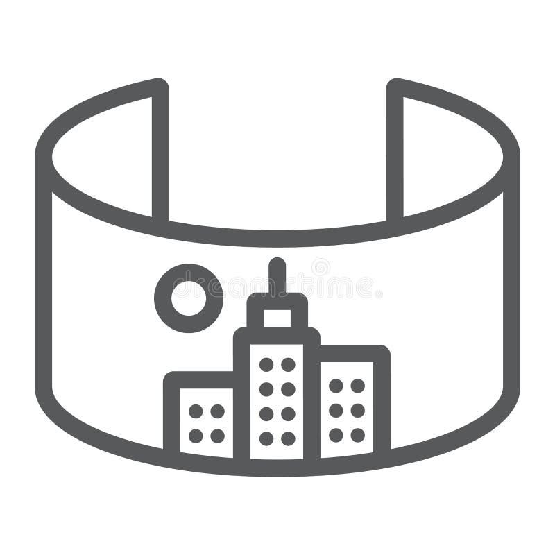 L?nea de ciudad de VR icono, virtual y ciudad, muestra virtual de la ciudad, gr?ficos de vector, un modelo linear en un fondo bla ilustración del vector
