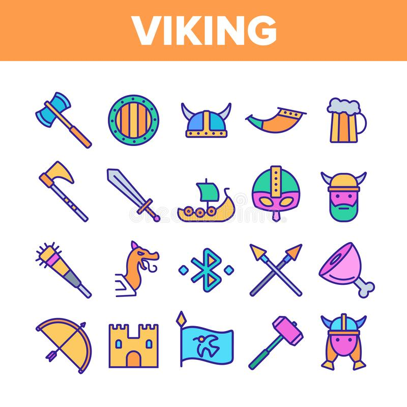 Línea de color activa del vector del resto de la vida de Vikingos sistema de los iconos stock de ilustración