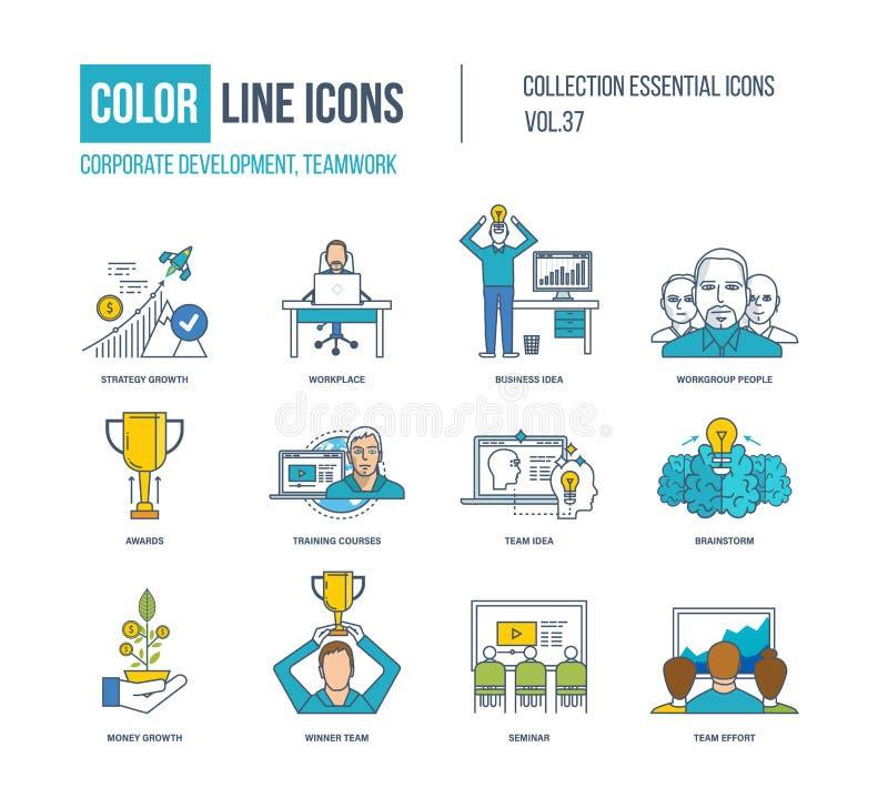 Línea de color colección de los iconos Desarrollo corporativo, concepto del trabajo en equipo ilustración del vector