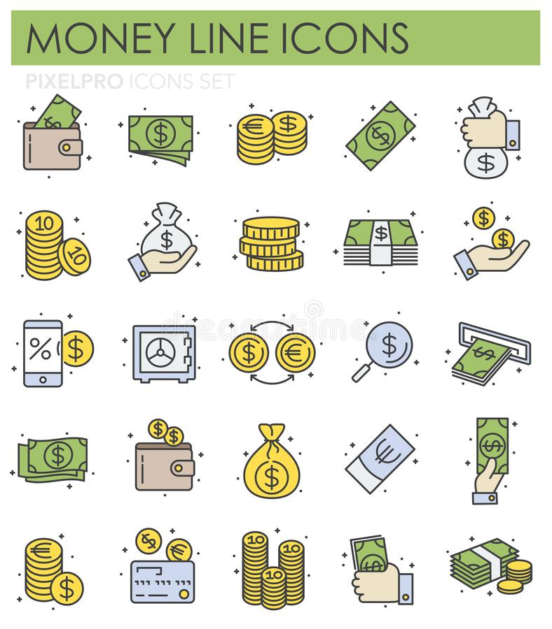 Línea de color del dinero iconos fijados en el fondo blanco para el gráfico y el diseño web, muestra simple moderna del vector Co ilustración del vector