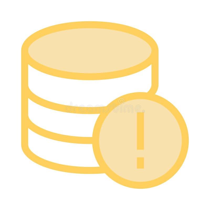 Línea de color del error de la base de datos icono ilustración del vector