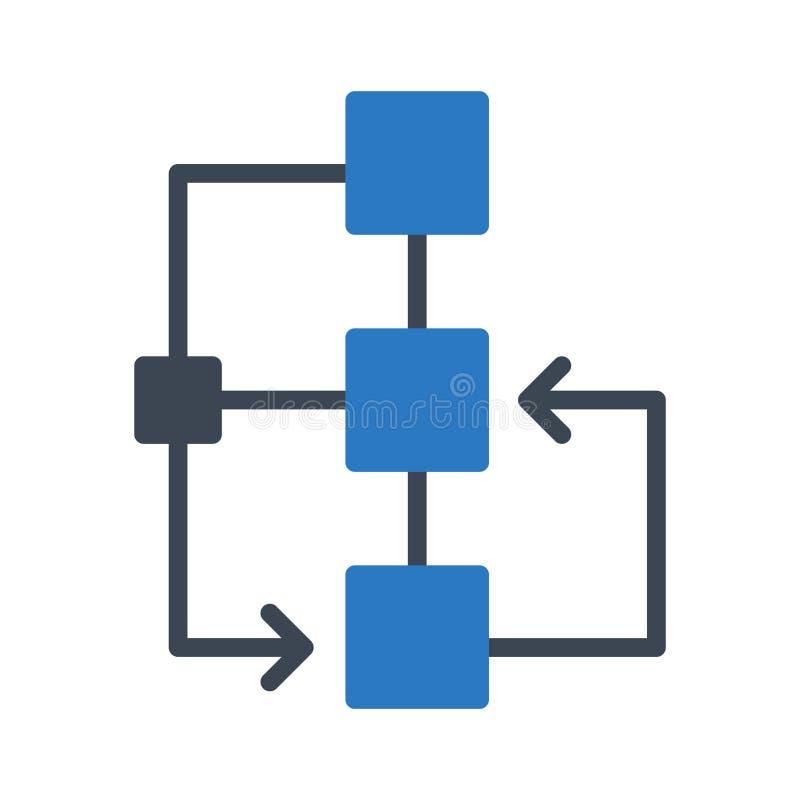 Línea de color del glyph del organigrama icono del vector stock de ilustración