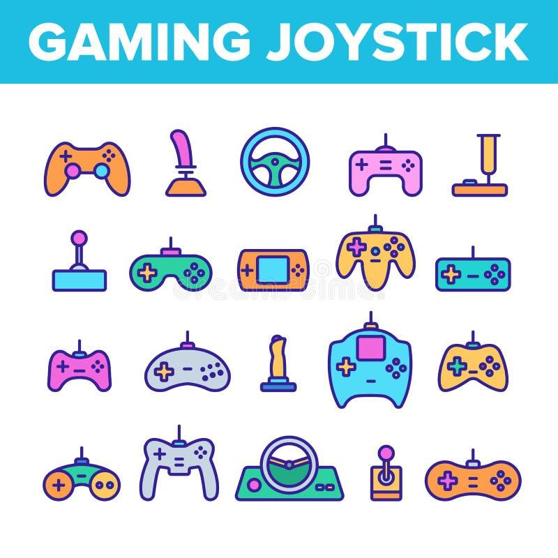 Línea de color del vector de la palanca de mando del juego sistema de los iconos ilustración del vector