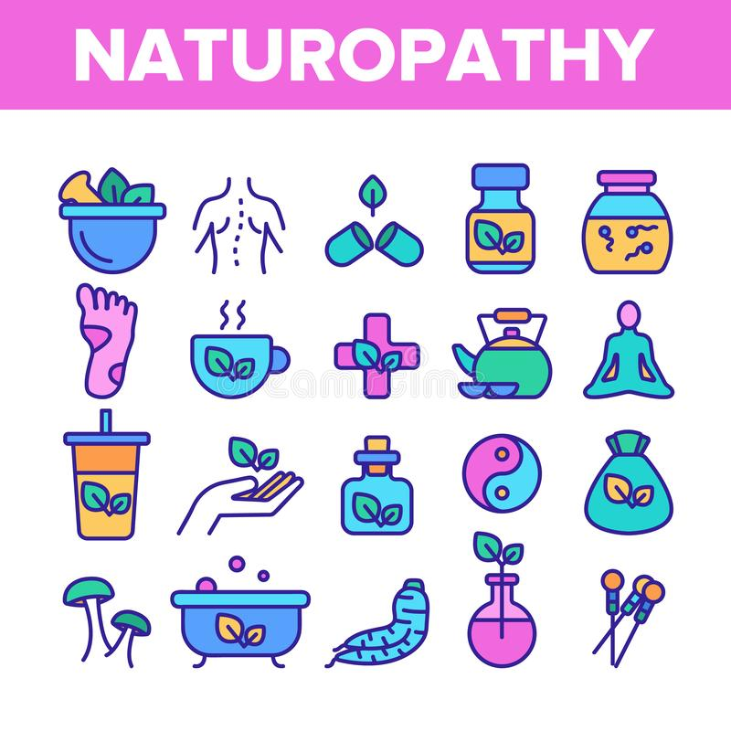 Línea de color del vector de la terapia de Naturopathy sistema de los iconos ilustración del vector