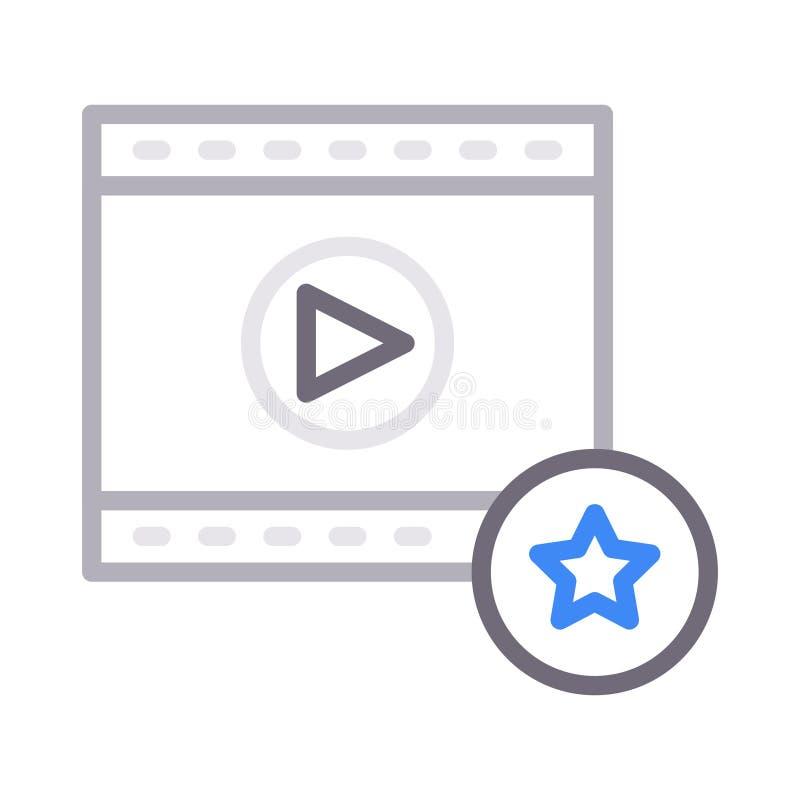 Línea de color fina video de la tira de película preferida icono del vector libre illustration