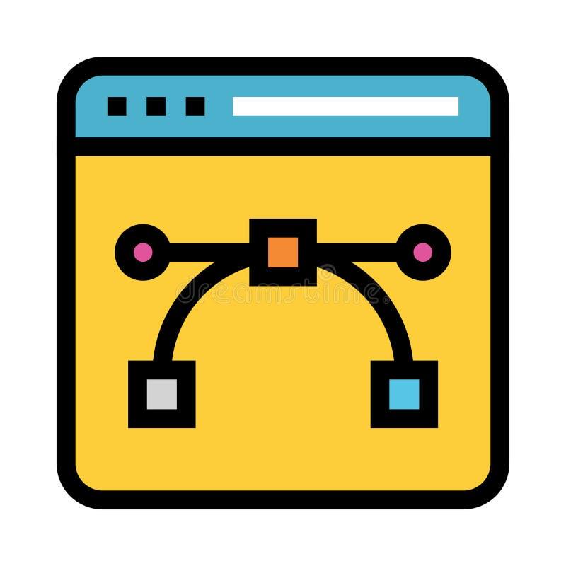 Línea de color más bezier de la página web icono stock de ilustración