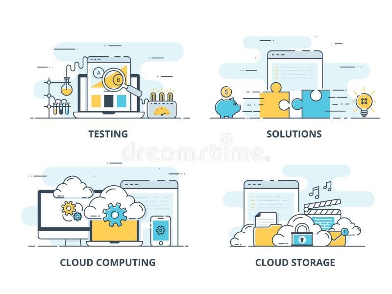 Línea de color plana moderna iconos de los conceptos diseño para probar, la solución, la computación de la nube y el almacenamien ilustración del vector