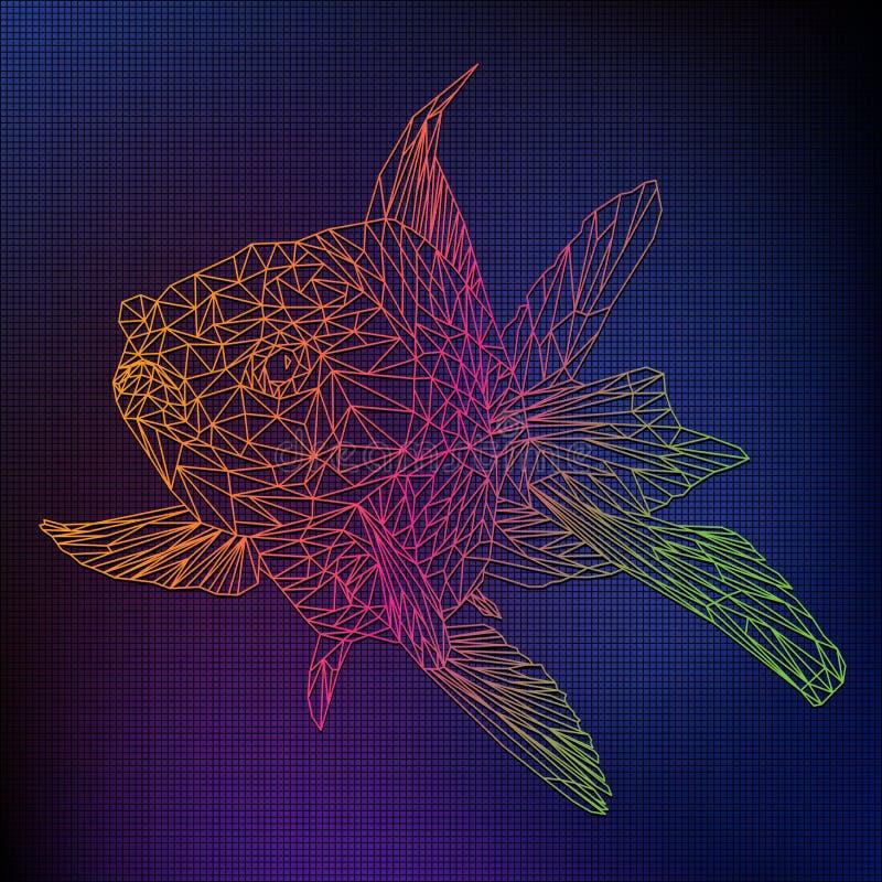 Línea de color poligonal del ejemplo 3D de pescados de oro imagen de archivo