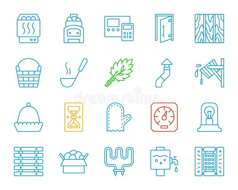 Línea de color simple del equipo de la sauna sistema del vector de los iconos stock de ilustración
