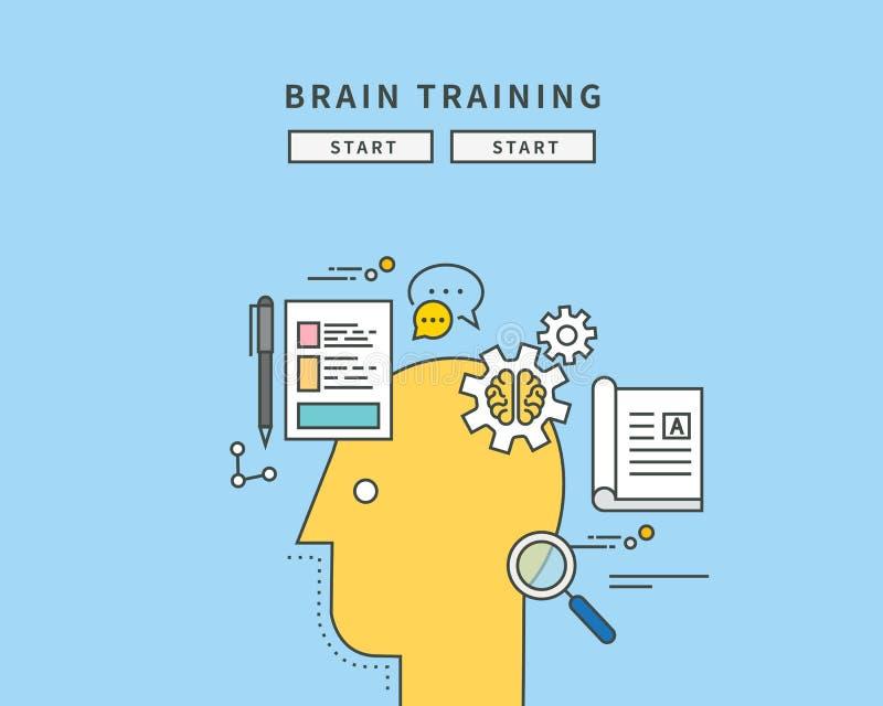 Línea de color simple diseño plano de cerebro trainning, ejemplo moderno ilustración del vector