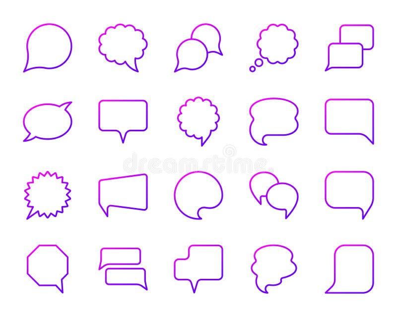 Línea de color simple de la burbuja del discurso sistema del vector de los iconos ilustración del vector