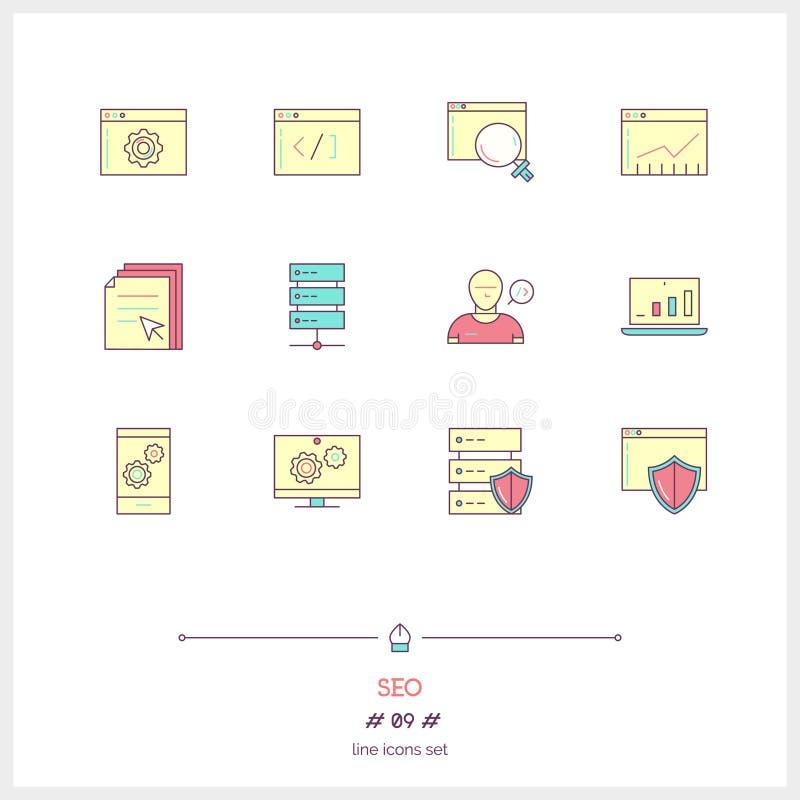 Línea de color sistema de los elementos de SEO, gráfico grande del centro de datos, inte del icono stock de ilustración