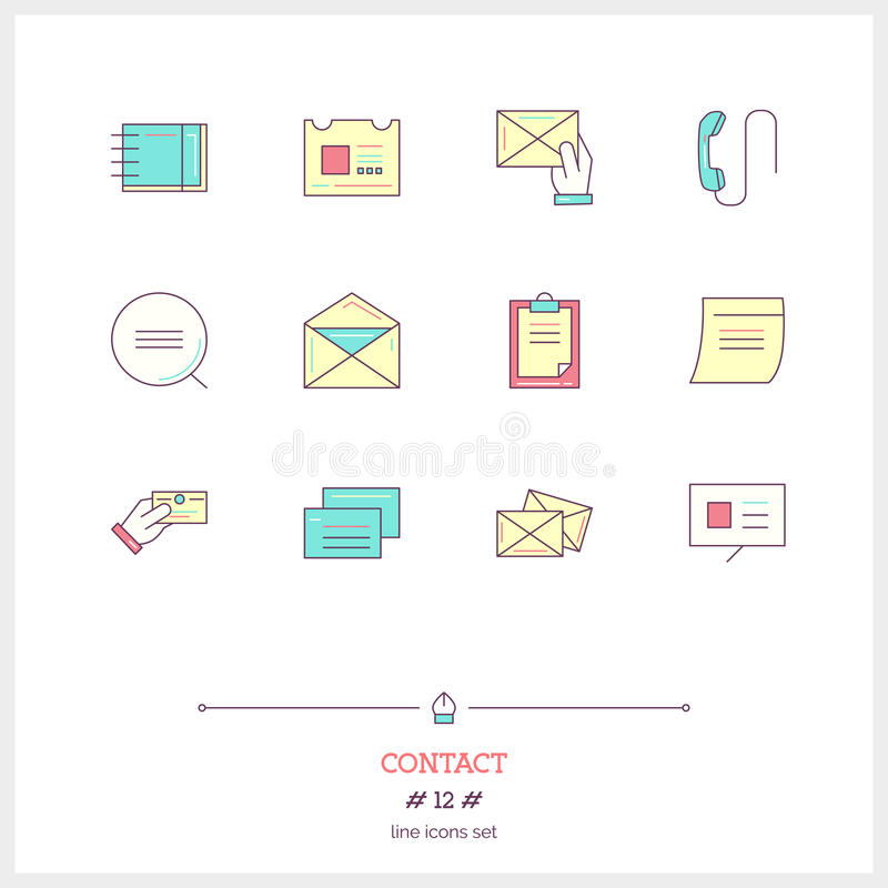 Línea de color sistema del icono de la forma del contacto, información, objetos y a stock de ilustración