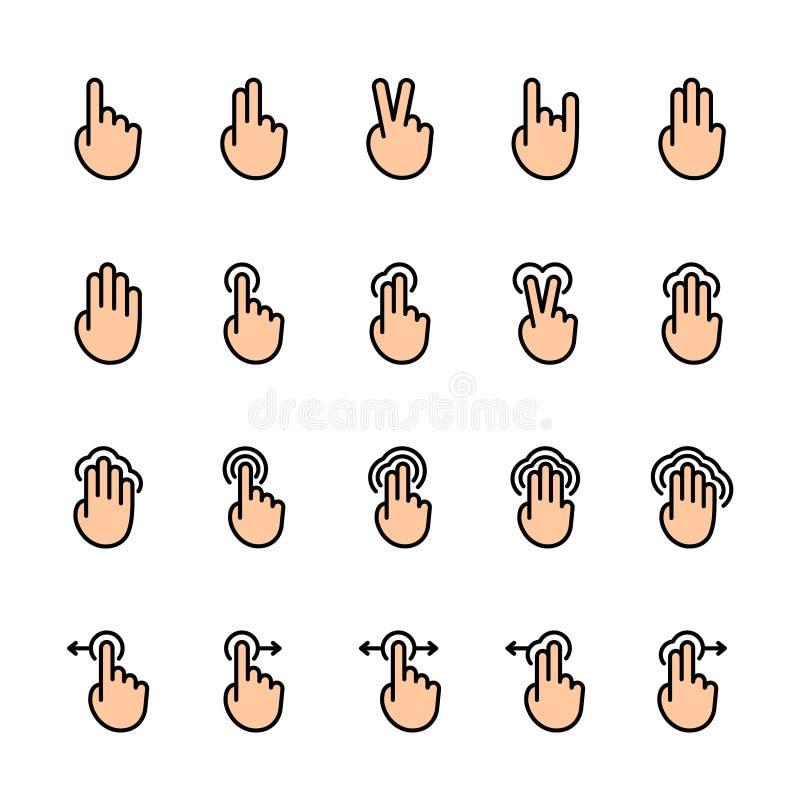 Línea de color sistema del icono de los gestos del tacto ilustración del vector