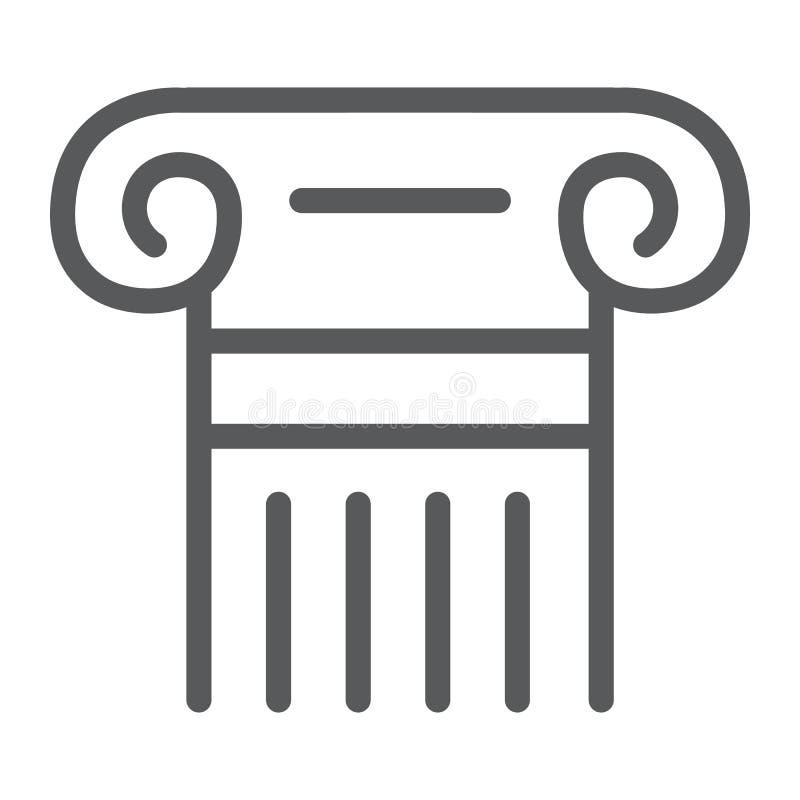 Línea de columna griega icono, pilar y antigüedad, muestra de la legalidad, gráficos de vector, un modelo linear en un fondo blan ilustración del vector