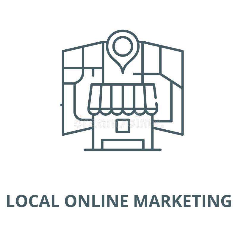 Línea de comercialización en línea local icono, concepto linear, muestra del esquema, símbolo del vector stock de ilustración