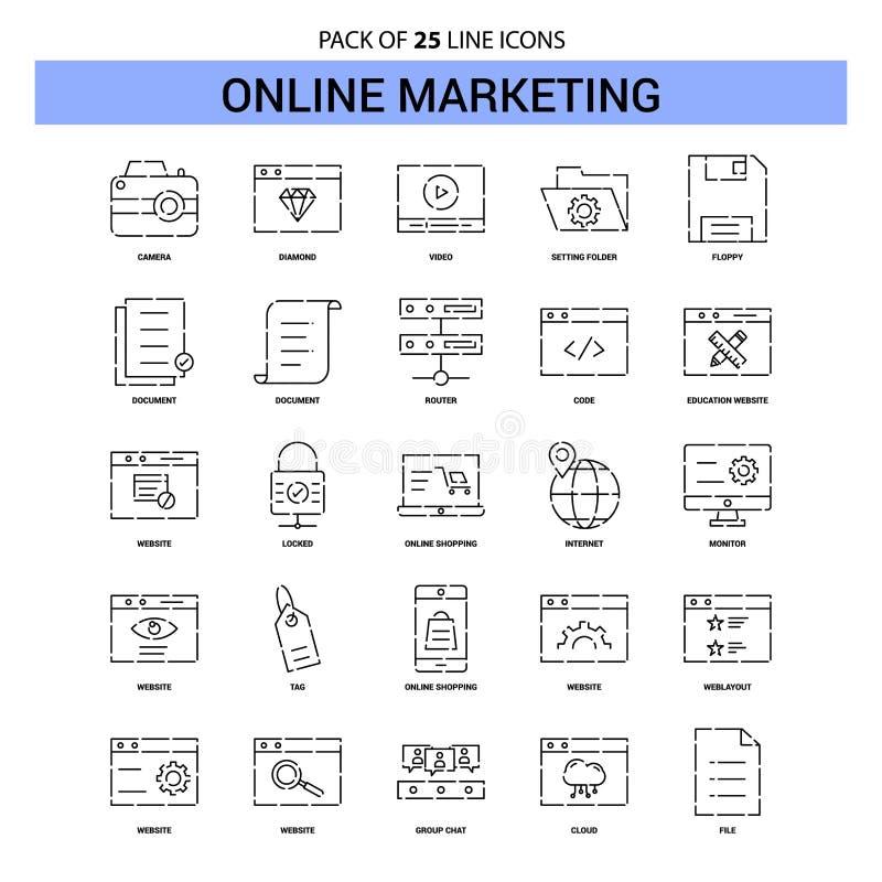 Línea de comercialización en línea sistema del icono - estilo rayado del esquema 25 ilustración del vector