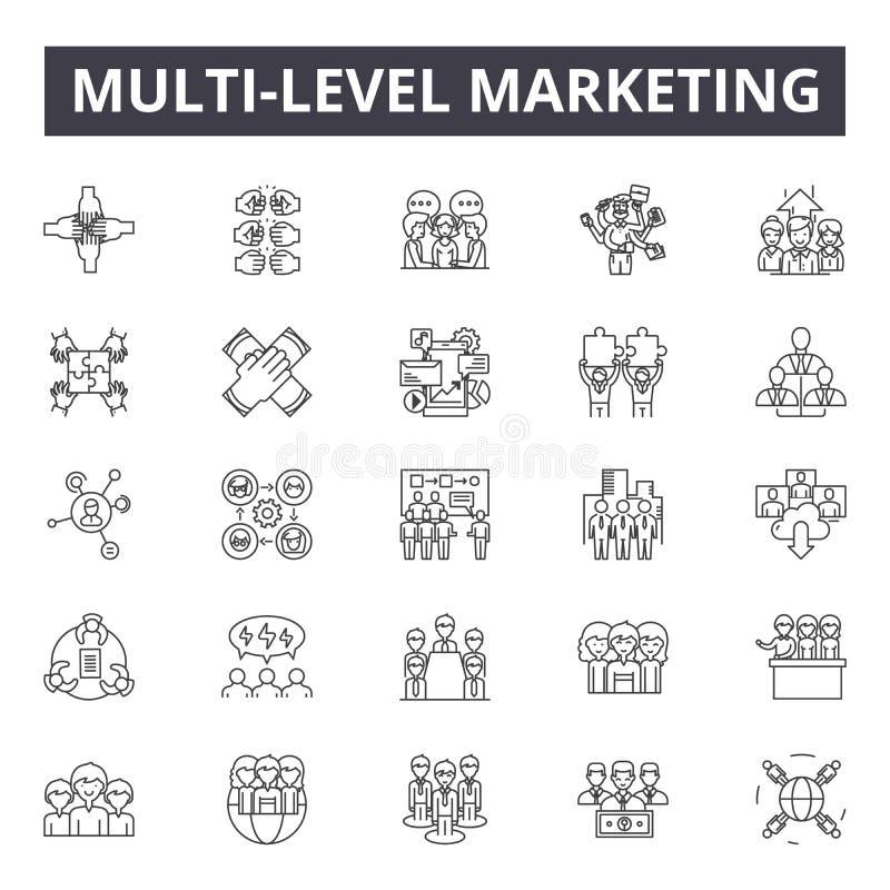 Línea de comercialización de niveles múltiples iconos, muestras, sistema del vector, concepto del esquema, ejemplo linear stock de ilustración