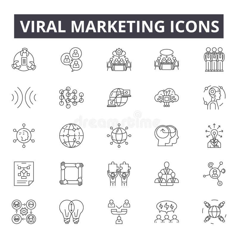 Línea de comercialización viral iconos, muestras, sistema del vector, concepto del ejemplo del esquema stock de ilustración